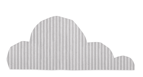 Cloud made from white corrugated paper