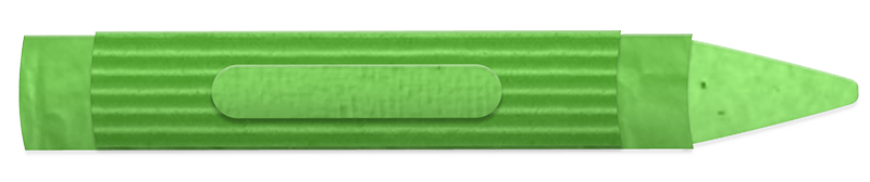 Green crayon made from corrugated cardboard