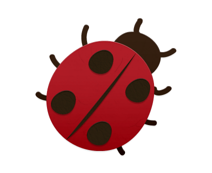 ladybug made from red and black cutout paper