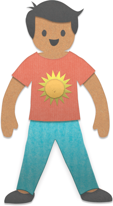 paper person with black hair, red shirt, blue pants