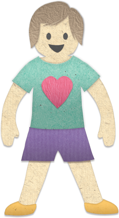 paper person with brown hair, green shirt, purple shorts