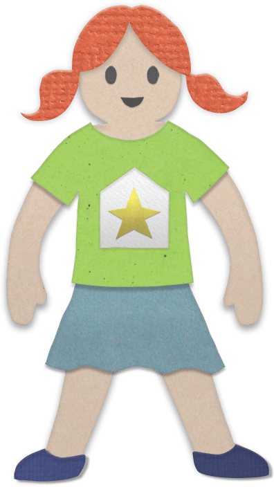 Cardboard person with red pigtails, green shirt, blue skirt